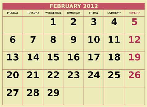February 2012 Calendar Nevenkitis Printable February 2012 Calendar Free