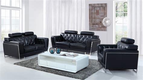 casa italia sofa divani casa huron modern black leather sofa set