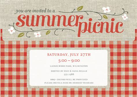 picnic invitation template summer picnic invitation