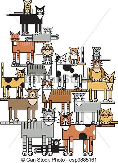 Small Cute House Plans Vector Clip Art Of Cat Family Vector Illustration Of A