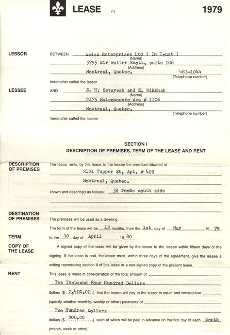 bedroom rental agreement lease agreement may 1 1979 200 monthly rent for a 3 bedroom apartment in montreal