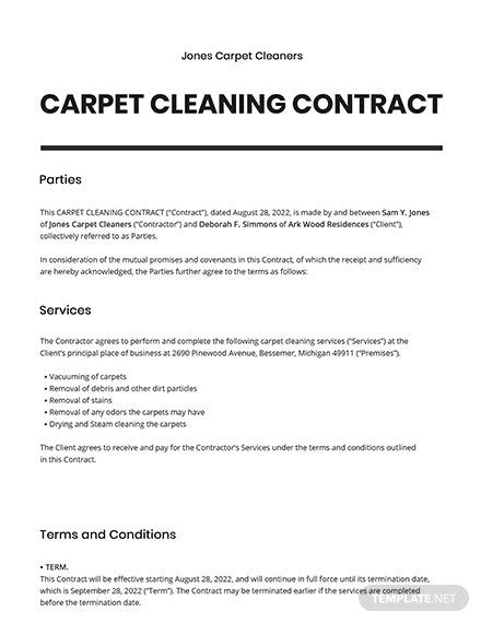 Carpet Cleaning Contract Template - Word (DOC) | Google