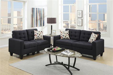 black polyfiber sofa and loveseat set f6903