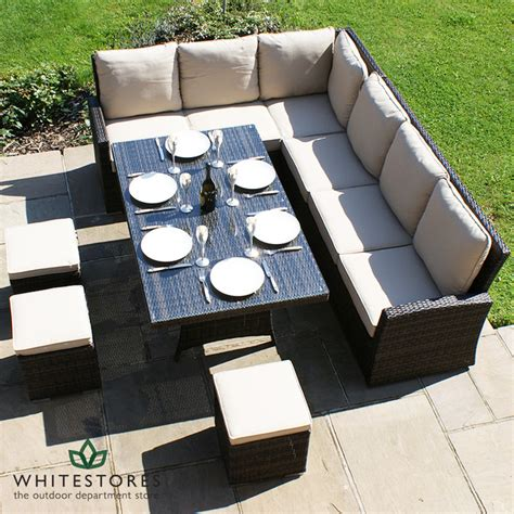 outdoor sofa dining set maze rattan kingston corner sofa dining set brown