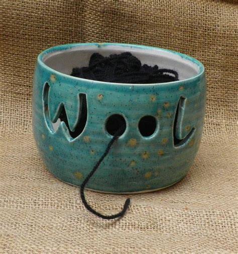 ceramic knitting bowl yarn bowl knitting or crochet wool thrown pottery ceramic