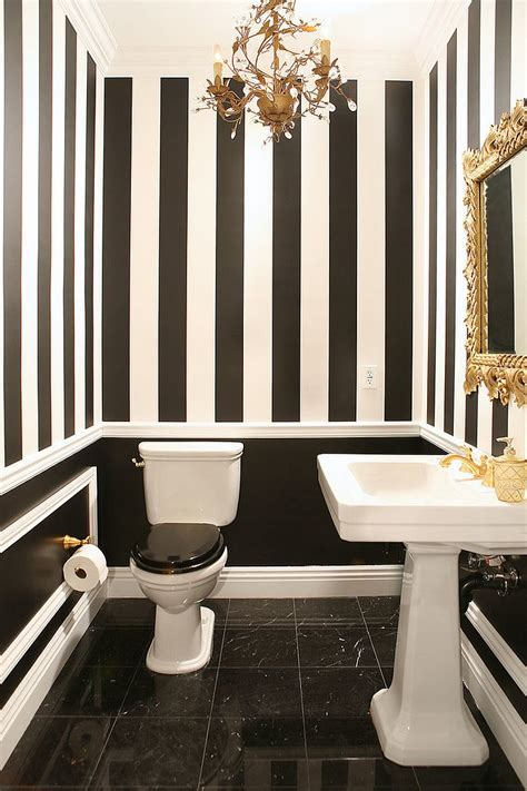 black white and gold room always on trend 20 powder rooms in black and white