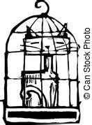 gatto in gabbia cuore gabbia essendo cuore captive tenuto birdcage