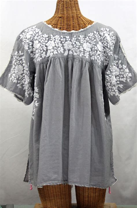 Blouse By Liblre quot lijera libre quot plus size embroidered mexican blouse grey white