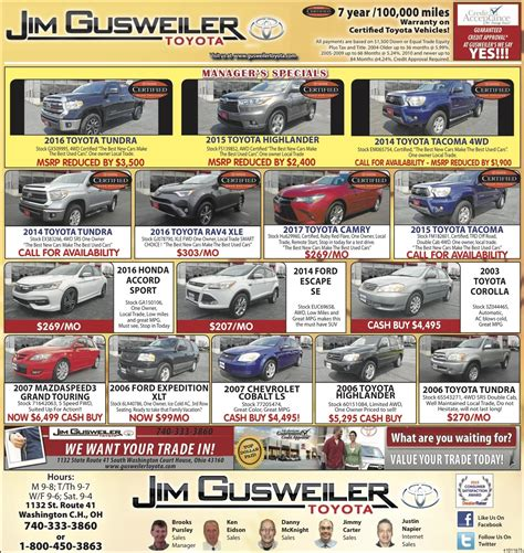 Gusweiler Toyota Pre Owned Models Ad Washington Court House Gusweiler Toyota
