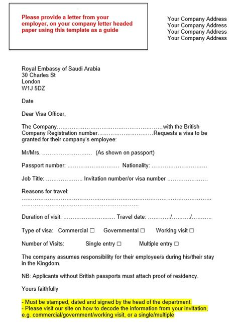 Support Letter Work Permit Saudi Arabia Visa Application Employer Support Letter Template