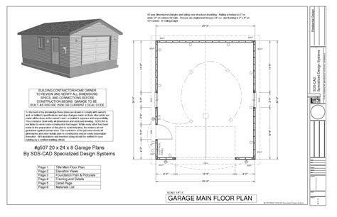 20 x 24 garage plans g507 20 x 24 x 8 garage plans rv garage plans and blueprints