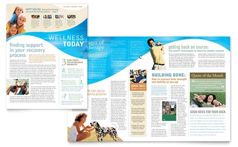 newsletter pages template physical therapist newsletter template design