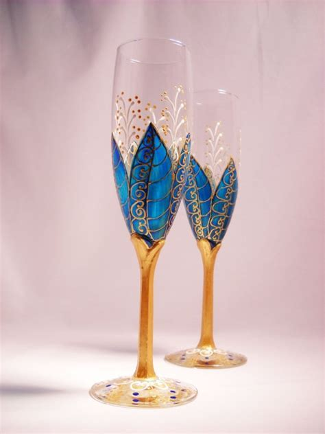 Blue Champagne Flutes Hand Painted Toasting Glasses, A