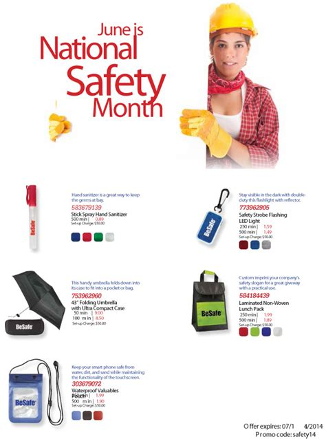 national safety month 2014 marketing and promotional products ideas to promote your - Safety Giveaways