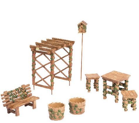 plow and hearth outdoor furniture plow hearth miniature garden furniture set page 1 qvc
