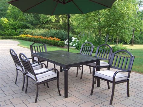 Cast Iron Patio Dining Set Furniture Outdoor Top Table With Black Iron Chair Using Base As Well As Metal