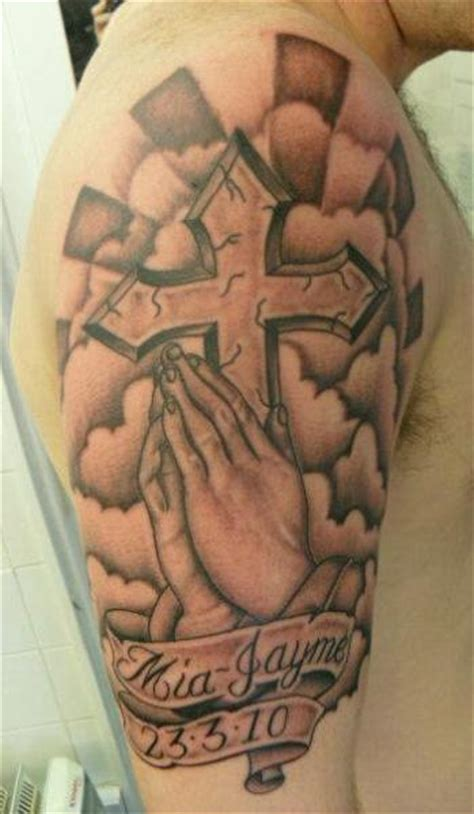 shoulder praying hands crux tattoo by sean body art