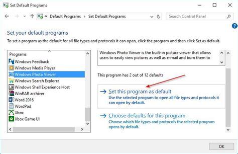 how to make windows photo viewer default in windows 10