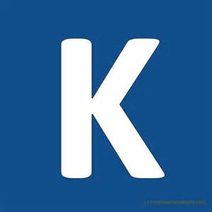 The letter k in blue blue background letter k
