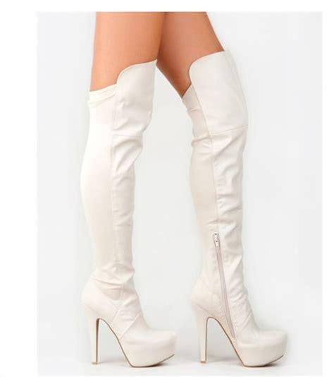 white high heeled boots white high heel boots qu heel