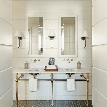 Polished Brass Sconce White Vanity With Brass Pulls Contemporary Bathroom