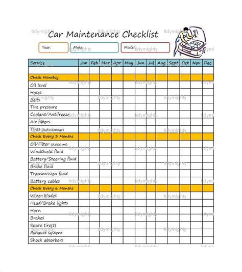 Car Maintenance Checklist Template by Vehicle Servicing Checklist Vehicle Ideas