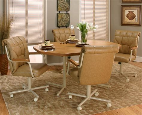 Kitchen Table Sets With Caster Chairs Kitchen Table Sets With Caster Chairs Cramco Motion Marlin Tilt Swivel Dining Chair With