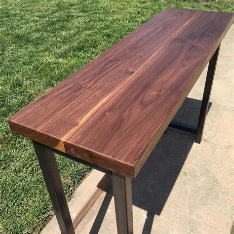 solid walnut console table custom solid walnut console table with forged metal