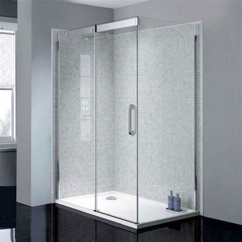 Frameless Sliding Shower Doors by April Prestige2 Frameless 1400mm Sliding Shower Door