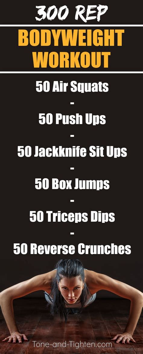 300 rep bodyweight workout tone and tighten