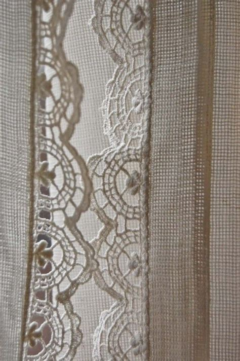 Vintage Pair Of Fine Net Curtains With Crochet Lace Edge