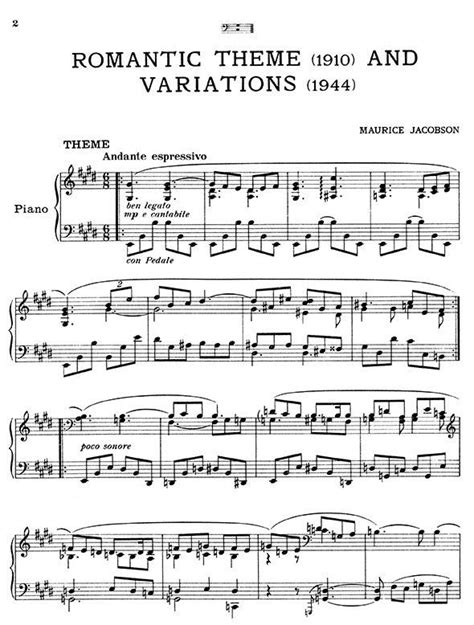 theme variations definition theme variations music maurice jacobson piano sheet music