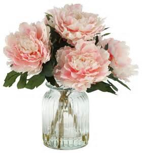 D & W Silks D&W Silks Pink Peonies in Ribbed Glass Vase   Artificial Flower Arrangements   Houzz