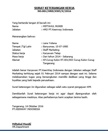 contoh surat keterangan kerja  pengajuan kpr