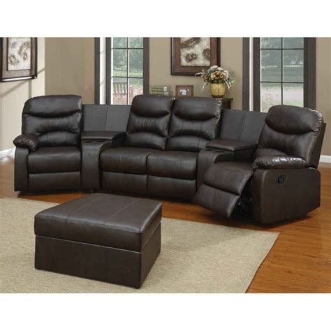 charming Best Sectionals For Apartments #2: Black-leather-sectional-recliner-black-leather-ottoman-table-grey-area-rug-.jpg