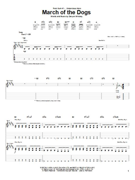 sum 41 pull the curtain lyrics march of the dogs sheet music direct