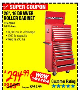 26 in 16 drawer glossy roller cabinet combo harbor freight mega parking lot sale expanded milled