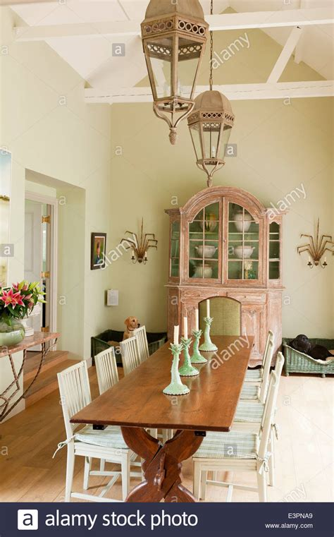 swedish farmhouse style old french farmhouse table in dining room with swedish