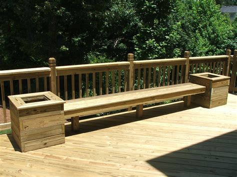 deck bench designs build benches w planters for back deck maybe add a