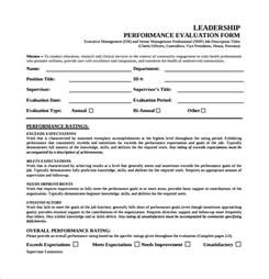 leadership evaluation form templates sle leadership evaluation form 9 free documents