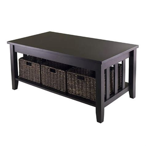 Coffee Table With Baskets Coffee Table With Three Foldable Baskets In Espresso 92441