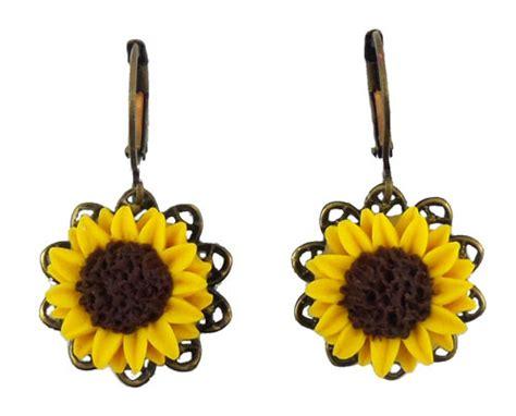silver plated clip on sunflower earrings sunflower filigree dangle earrings stranded treasures