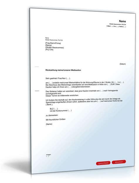 Musterbrief Angebot Nicht Annehmen Aufforderung R 252 Ckzahlung Mietkaution Muster Zum
