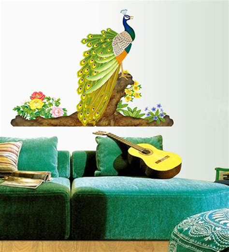 peacock wall stickers buy walltola pvc vinyl colorful decorative peacock wall