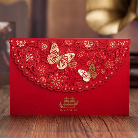 Wedding Invitation Card China by Style 3d Butterfly Decor Happiness Wedding