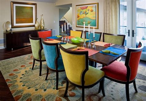 dining room sets with colored chairs