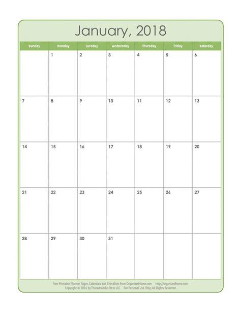 Free Monthly Printable Calendar 2018