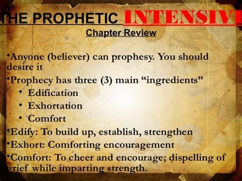 edification exhortation and comfort the prophetic intensive life changers church