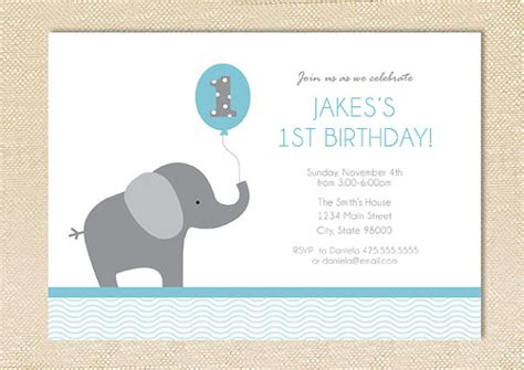 Elephant Birthday Card Template by Elephant Birthday Invitation Digital File Birthdays
