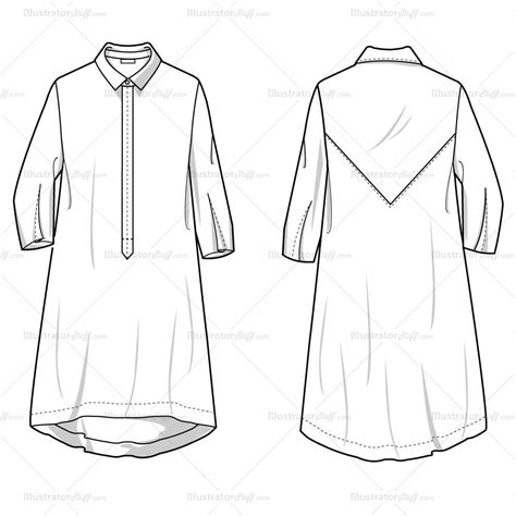 Women S Shirt Dress Fashion Flat Template Illustrator Stuff Fashion Flats Template